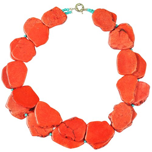 Red Turquoise Necklace,Statement Necklace - Two Strands 19.7 Inches Red Turquoise Necklace With Blue Beads(FN0415-Red)