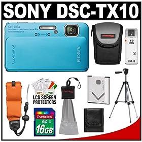 Sony Cyber-Shot DSC-TX10 Shock & Waterproof Digital Camera (Blue) with 16GB Card + Battery + Floating Strap + Case + Tripod + Accessory Kit