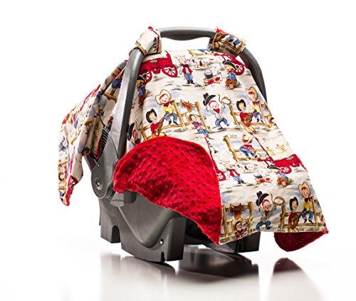 Elonka Nichole Baby Boy Car Seat Canopy, Round Em Up Cowboys - 1