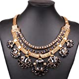 Chunky Black Bib Statement Gold Graduated Flower Charms Festoon Torsade Necklace