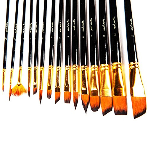 Mont Marte 15pce Art Paint brushes set for Watercolor, Acrylic, Oil, Great for Artists & Kids