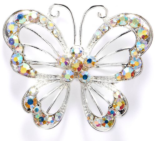 Bay Studio Silver Tone Crystal AB Butterfly Brooch