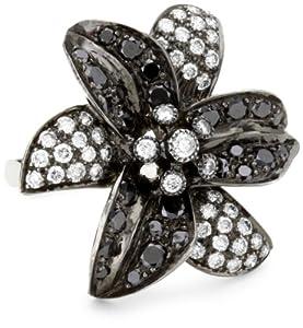 Sethi Couture Black and White Diamond Flower Ring, Size 6.5