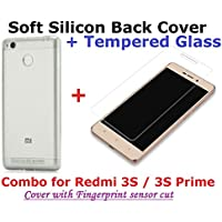 Combo Of Transparent Back Cover + Tempered Glass - Xiaomi Redmi 3S 16GB And 3S Prime 32GB - By Shop Buzz (Soft...