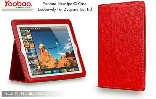 Zsquare Co Yoobao Ipad 3 Genuine Leather Case - The New Ipad, Red 3Rd Generation Genuine Leather Case, Automatically Wakes And Puts The Ipad 3 To Sleep, Latest Design For New Ipad Ipad 3, From The Best Selling Ipad 2 Case Creator, Red