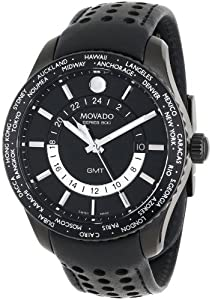 Movado Men's 2600117 Series 800 Black PVD Case Black Calfskin Leather Strap Black Dial Silver Accents Watch