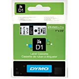 DYMO Standard D1 Self-Adhesive Polyester Tape for Label Makers, 1-inch, Black Print on White, 23-foot Cartridge (53713)