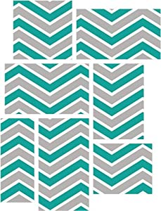 Zig zag teal and gray 7 piece fabric peel for Teal peel and stick wallpaper