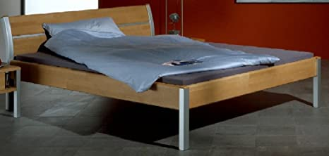 6-6-7-1657: schönes Doppelbett - Ehebett - Bett - Liegefläche 160x200cm - Buche massiv-Alu