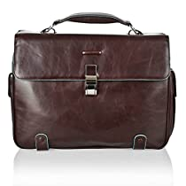 Piquadro Brief Case with 2 Gussets In Leather