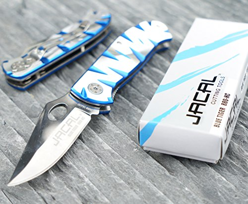Jacal Blue Tiger ::: Premium blue and silver folding knife