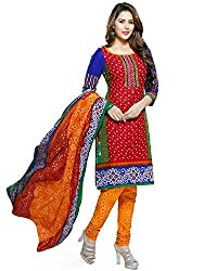 ZFashion Women's Red_Blue_Yellow Color Printed Unstitched Cotton Dress Material