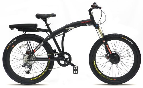 Review Prodeco V3 Phantom X Lite 9 Speed Folding Electric Bicycle, Matte Black, 26-Inch/One Size