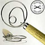 "The Original Dough Whisk The Original Danish Dough Whisk - LARGE 14.5"" Stainless Steel Dutch Style Bread Dough Whisk For Pastry, Pizza. Great Alternatives To A Blender, Mixer Or Hook."