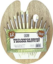 Art Advantage Wood Palette with 12 Brushes (2 Sets)