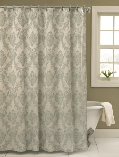 Blue-grey and white damask shower curtain