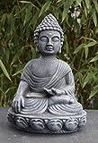 Steinfigur Buddha Steinguss Schiefergrau