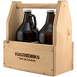 KegWorks Wooden Beer Growler Toolbox - Holds 2 Growlers