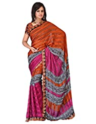 Sehgall Sarees Indian Bollywood Designer Professional Ethnic Alpheno Print With Lace Border Color Rust