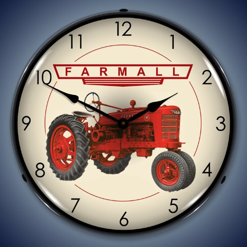 """Collectable Sign And Clock 1012276 14"""" Farmall Lighted Clock"""