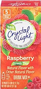 Crystal Light On The Go Green Tea Raspberry, 10 Count Boxes (Pack of 6)