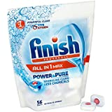 Finish All-in-One Dishwasher Tablets - Power and Pure, Pack of 1 (Total 56 Tablets)