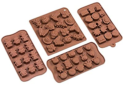 Sorbus® Cartoon Shaped Silicone Molds for Chocolate Candy-Cartoons, Characters, Insects and Animal Heads (Set of 4)
