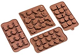 Sorbus Cartoon Shaped Silicone Molds for Chocolate Candy-Cartoons, Characters, Insects and Animal Heads (Set of 4)
