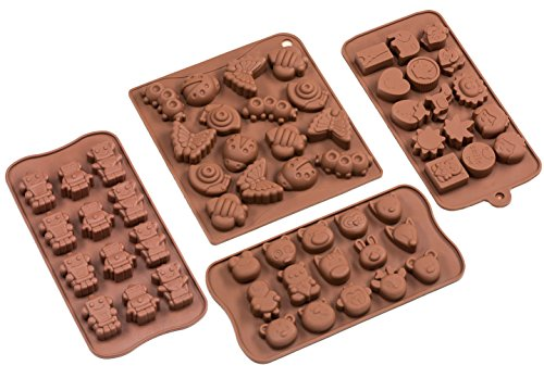 Sorbus Cartoon Shaped Silicone Molds for Chocolate Candy-Cartoons, Characters, Insects and Animal Heads (Set of 4) (Small Silicone Oven Mold compare prices)