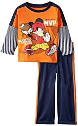 Disney Little Boys\' 2 Piece Mickey Mouse Jersey with Tricot Pant, Orange, 2T
