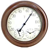 Springfield 91580 14 Inch Metal Garden Thermometer with Hygrometer and Clock