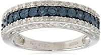 Sterling Silver Blue and White Diamond Anniversary Ring (1/10 cttw, I-J Color, I2-I3 Clarity) from Verigold Jewelry