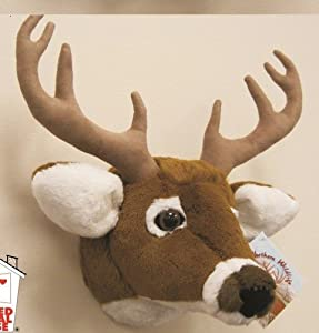 "11"" White Tailed Deer Head Plush Stuffed Animal Toy by ah"