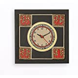 ExclusiveLane Dhokra Handpainted / Unique / Decorative Wooden Square Wall Clock In Brown- Home Decor