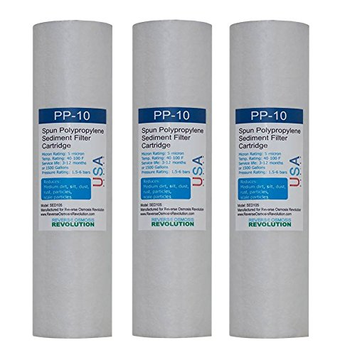 ROR 5-Micron Sediment Spun Polypropylene Filtration 3 Pack Replacement Cartridges, 10