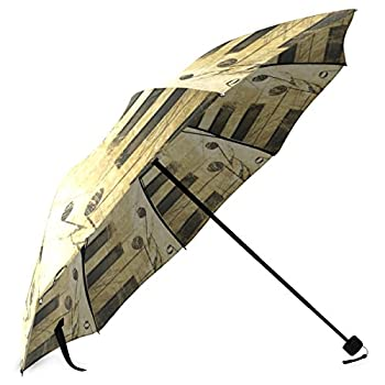 InterestPrint Stylish Vintage Retro Music Note Piano Keyboard Foldable Rain Umbrella