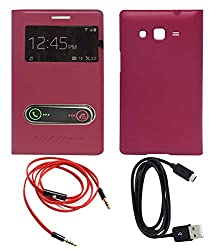 TBZ Premium Flip Cover S View Case -Fusion Red for Samsung Galaxy Grand Duos i9082 With Data Cable and Aux Cable