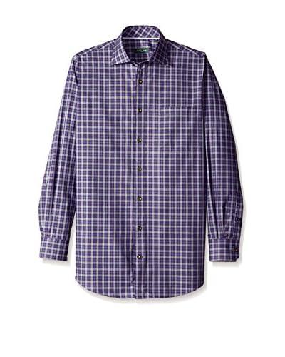 Bobby Jones Men's Inward Plaid Spread Collar Shirt