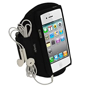 iGadgitz Black Water Resistant Neoprene Sports Gym Jogging Armband for New Apple iPhone 5 Cell Phone 4G LTE