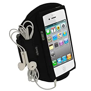 iGadgitz Black Water Resistant Neoprene Sports Gym Jogging Armband for New Apple iPhone 5, 5S, 5C Mobile Phone 4G LTE