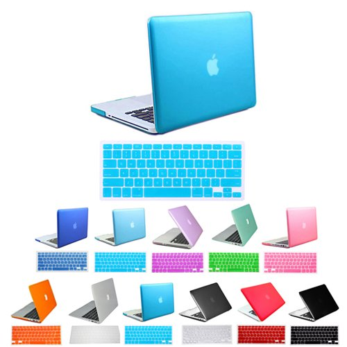 HDE® Candy Blue Frosted Rubberized Hard Shell Case + Free Matching Keyboard Skin for 13-inch Aluminum Unibody MacBook Pro (A1278)