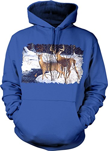 Two Whitetails, 2 White-Tailed Deer in the Snow Hooded Sweatshirt, NOFO Clothing Co. L Royal