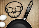 Y&Y Star Halloween Skull Reusable Silicone Egg and Pancake Molds,Egg Ring Maker Mold Shaper Combo / Breakfast Sandwich Pancake Omelet Novelty, (black skull)