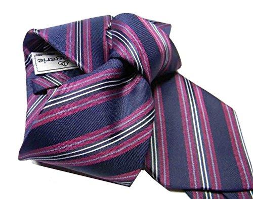 Avantgarde - Cravatta blu a righe rosa multiriga VARI blu rosa fucsia millerighe strette fini colore colour blu fantasia a righe striped gestreift misura cm 8 fantasia 5