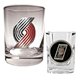NBA Portland Trailblazers Rocks Glass & Square Shot Glass Set - Primary Logo at Amazon.com