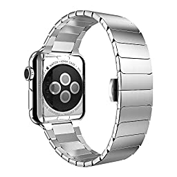 Apple Watch Band, Hoco for Apple Watch 42mm Grand Series 2 Pointers Stainless Steel Metal Soft Watchband Plated Shell (Silver)