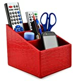 Earlygreen Sgsnl5 Pu Leather Remote Control/controller Tv Guide/mail/cd Organizer/caddy/holder Home Organizer Desk Organizer (Crocodile Pu Leather Red)