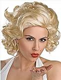 32cmレディースフルウィッグウィッグショートカール巻き髪ウェーブかつらマリリン・モンロー高温耐熱仕様日常自然な質感アニメコスプレコスチューム用フリーサイズブロンド