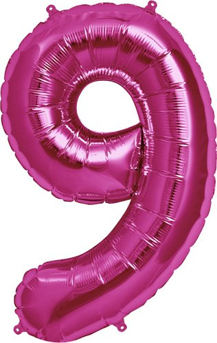 Number 9 - Magenta Helium Foil Balloon - 34 inch - 1