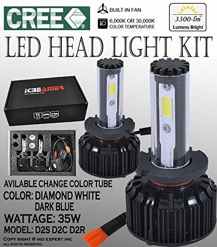 ICBEAMER JDM Fit all D2S D2R D2C DOT 6000K 30000K CANBUS CREE COB LED bulbs KIT Low BEAM 12V 70W 6600LM (70w Led Bulb compare prices)